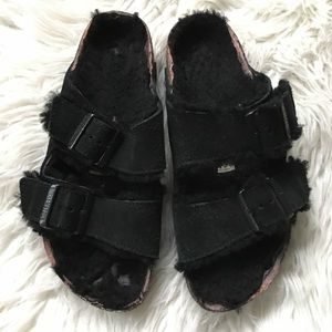 Birkenstock Arizona Shearling Black Sandals